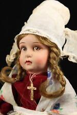 """Antique Clelia Doll 12"""" French Cloth & Celluloid 1930 Folk Costume Lenci Copy"""