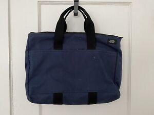 Jack Spade Mens Canvas Document Briefcase Bag Navy Blue Messenger Leather Handle