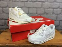 NIKE AIR MAX 90 WHITE LEATHER MESH IRIDESCENT TRAINERS CHILDRENS MANY SIZES