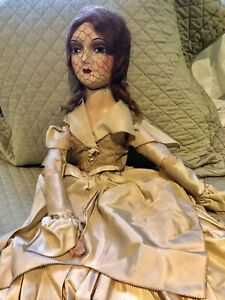 "Antique 31"" All Original Boudoir Doll Red Mohair Wig & Original Silk Gown Bride?"