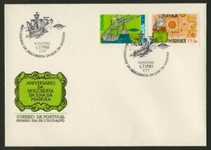 Portugal - Madeira 975-6 on FDC - Ship, Map, Discovery of Madeira
