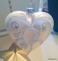 "KURT ADLER C4609 SILVER WHITE GLASS HEART 4"" CHRISTMAS ORNAMENT NWT"