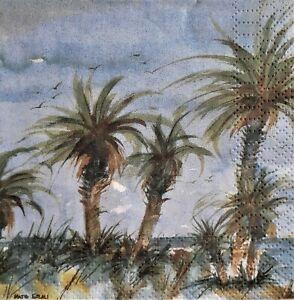 2 individual Paper Decoupage BEVERAGE NAPKINS - PALM TRESS BEACH OCEAN