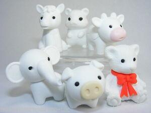 Novelty Japanese IWAKO Puzzle Eraser Rubbers - IWAKO White Animal Erasers