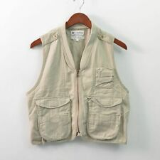 Columbia Vintage Fishing Vest Cotton Nylon Beige Mens Medium M