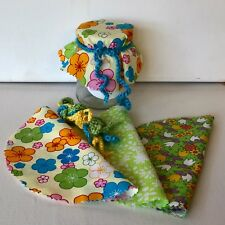 Retro Fabric Jar Covers Jam Preserves Pk 6 Crochet Ties Bright Florals