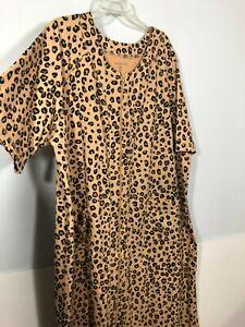 Dreams & Co. 2xl House Coat Robe Plus Leopard Print Short Sleeve Zip pockets