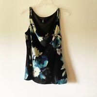 White House Black Market Women Blouse Sleeveless Floral Print Faux Velvet Medium