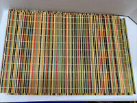 """Placemats Bamboo Wicker Multicolor Chic Rustic Large 19.5x12.5"""" Set Of 6 EUC"""