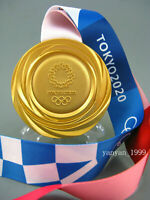 Tokyo 2020 Olympic Gold Medal with Silk Ribbons & DISPLAY STANDS 1:1** Free S **