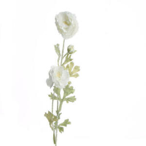 Snow Frosted White Artificial Peony Floral Stems