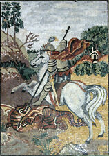 Saint George On Horse Killing The Dragon Religious Figure Marble Mosaic FG590