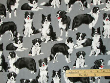 Border Collie Dog Purebred Black & White Pups Fabric by the 1/2 Yard #C7365