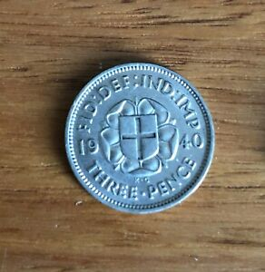 1940 Silver Three pence Average Circulated Condition & highly collectible