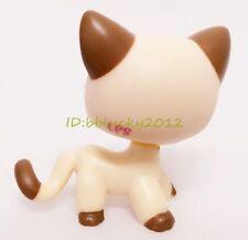 Littlest Pet Shop Cream Tan Brown Short Hair Cat Kitty Heart Face CN -2