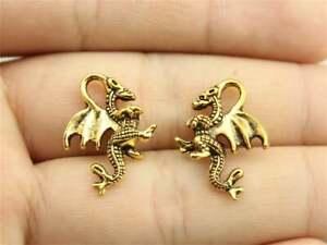 100pcs 21x15mm Dragon Charms Antiuqe Gold Tone Pendant Bead Making DIY