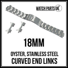 • 18mm Oyster Stainless Steel Satin Bracelet Watch Strap With Curved End Links •