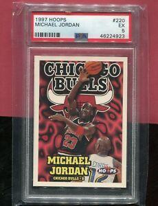 MICHAEL JORDAN CHICAGO BULLS 1997 HOOPS NBA BASKETBALL CARD #220 PSA 5