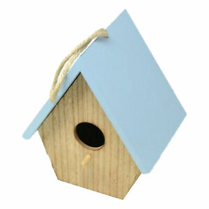 Wooden Garden Birdhouse With Colour Roof - Blue