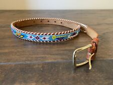 """VTG Seed Bead Leather Belt Native Southwestern Leather Blue Small 31"""" Thin"""