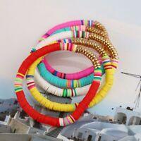 5Stk Armband Polymer Lehm Handgefertigt Regenbogen Armreif Modeschmuck Unisex