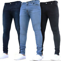 Men Skinny Elastic Denim Jeans Slim Fit Straight Leg Stretch Plain Casual Pants