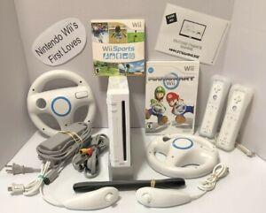 Nintendo Wii Console Bundle-Mario Kart/Wii Sports Wheels 2 Controllers-FREE SHIP