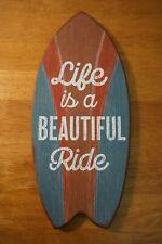 Life Is A Beautiful Ride Surfboard Sign Tropical Beach Home Tiki Bar Decor New