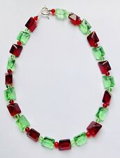 Stunning  Ruby Red & Peridot Green Chunky Italian Glass Necklace