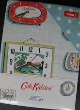 Cath Kidston Vintage Retro Clocks Single Duvet Quilt Cover Set NIP Caravan Decor
