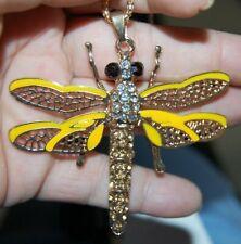 Stunning Rhinestone Yellow Dragonfly Necklace Gold Metal Totem Animal Spirit