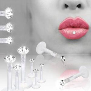 10stk Lippenpiercing Bioflex Labret Kristall Ohr Lippe Helix Madonna Piercing