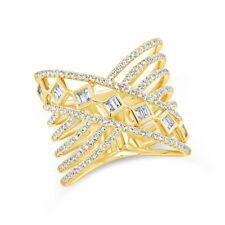 0.69ct 14k Oro Amarillo Natural Corte Baguette Diamante Cruzado de Tendencia X