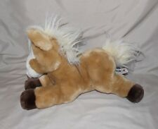 "Aurora Horse Pony Beige Light Brown Plush Stuffed Animal bean bag 10"" long"