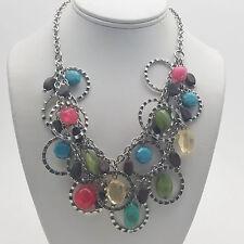 Silver Tone Multi-Color Plastic Bead Necklace