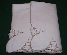 """2 Vintage Madeira Work Linen Napkins, Leaf Themed, 15"""", Never Used c1930"""