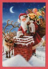 Christmas, Santa Claus, deer, toys, doll, teddy bear, Russian modern postcard