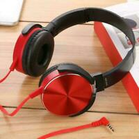 Headphone Headset With Mic 3.5mm Wired Over Ear Stereo Earphone Foldable X4Q7