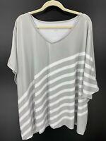 Elizabeth & Clarke Striped Tunic Asymmetric Hem  StainTech Grey Womens Plus 3X