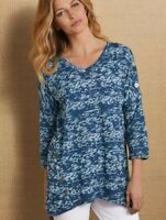 Soft Surroundings Medium Top Heathered Blue Shirt Cotton Blend Button Tunic