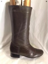 SHOE TAYLOR Ladies Leather Brown Mid Calf Boots Size 6