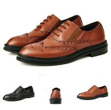 Brogue Mens Dress Formal Leather Shoes Wing Tip Carved Pointy Toe Slip on Casual