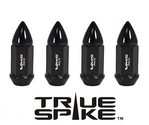 "20 TRUE SPIKE 60MM 1/2"" STEEL BULLET LUG NUTS BLACK FOR GM CHEVY CADILLAC GMC"