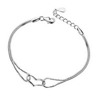 Women 925 Silver Plated LOVE Heart Pendant Bangle Chain Charm Bracelet Jewelry