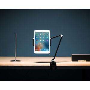 Tablet & Handy Ständer Haltung Alu Schwarz Tischklemme Verstellbar 360° Drehbar