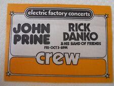 John Prine - Rick Danko & His Band of Friends - backstage crew pass Oct 3 Tower