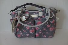 Laura Ashley Beautiful Gray Pink Rose 6 Piece Large Diaper Bag New Tags $99