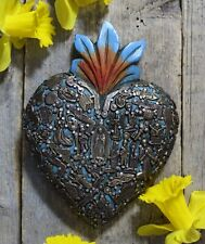 M/L Size Blue Sacred Heart Wood & Milagros Miracle Mexican Folk Art Michoacán