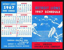 Detroit Lions **RARE** 1967 Pocket Schedule VTG NFL Football Tiger Stadium Promo