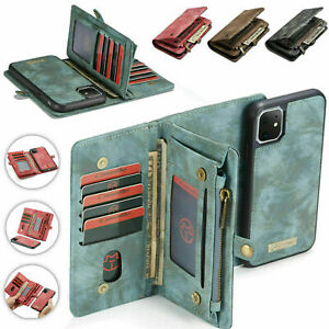 For iPhone 12 11 Pro Max Xs Xr 8 7 Leather Removable Wallet Flip Card Case Cover